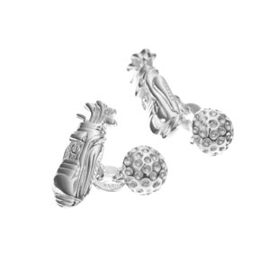 Sterling Silver Golf Bag and Ball Cufflinks
