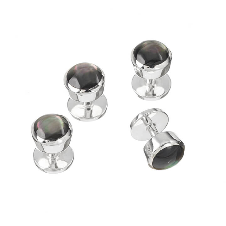 Sterling Silver Black Mother of Pearl Dress Studs