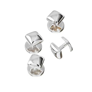 Sterling Silver Square Dress Studs