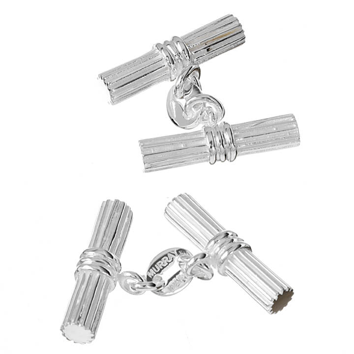 Sterling Silver Double Grooved Bar Cufflinks