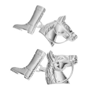 Sterling Silver Riding Boot and Horse Head Cufflinks