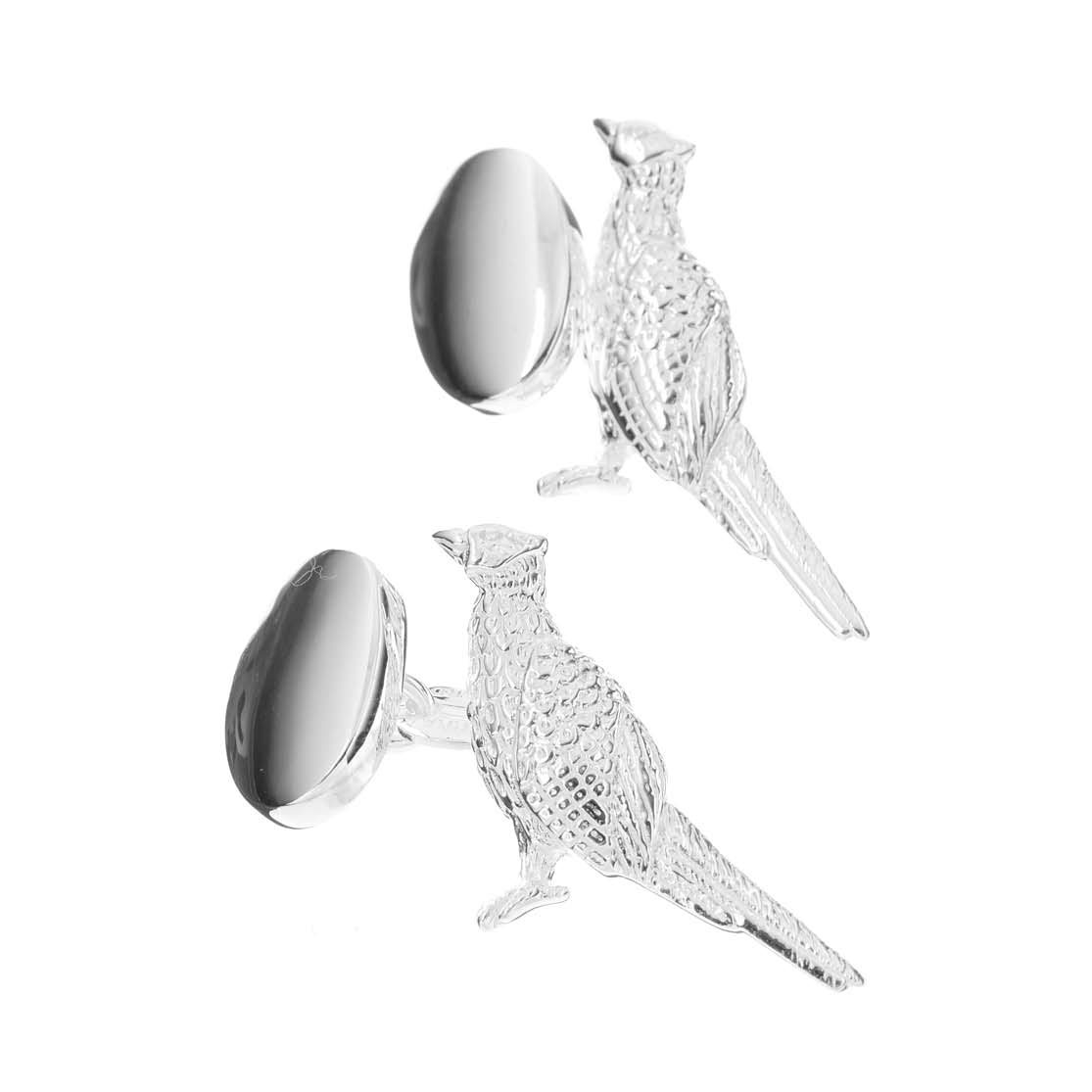 Sterling Silver Standing Pheasant Cufflinks