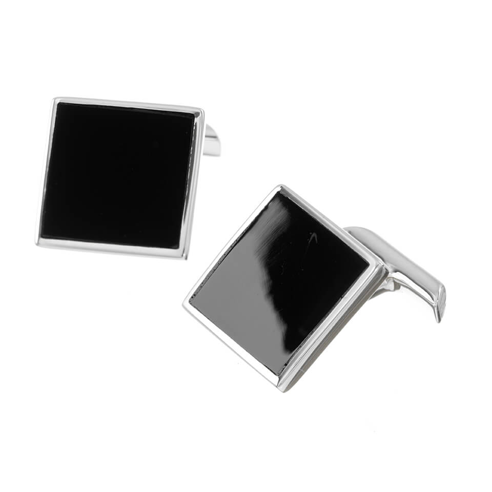 Sterling Silver Square Onyx Cufflinks