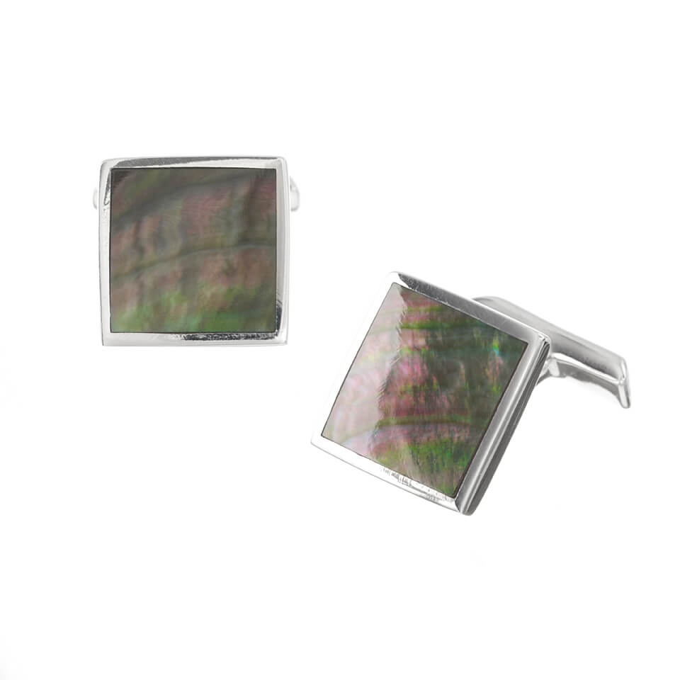 Sterling Silver Square Black Mother of Pearl Cufflinks