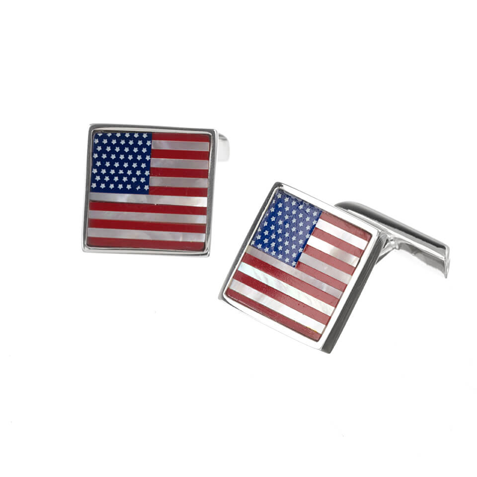 Sterling Silver Usa Flag Cufflinks Flags Patriotic