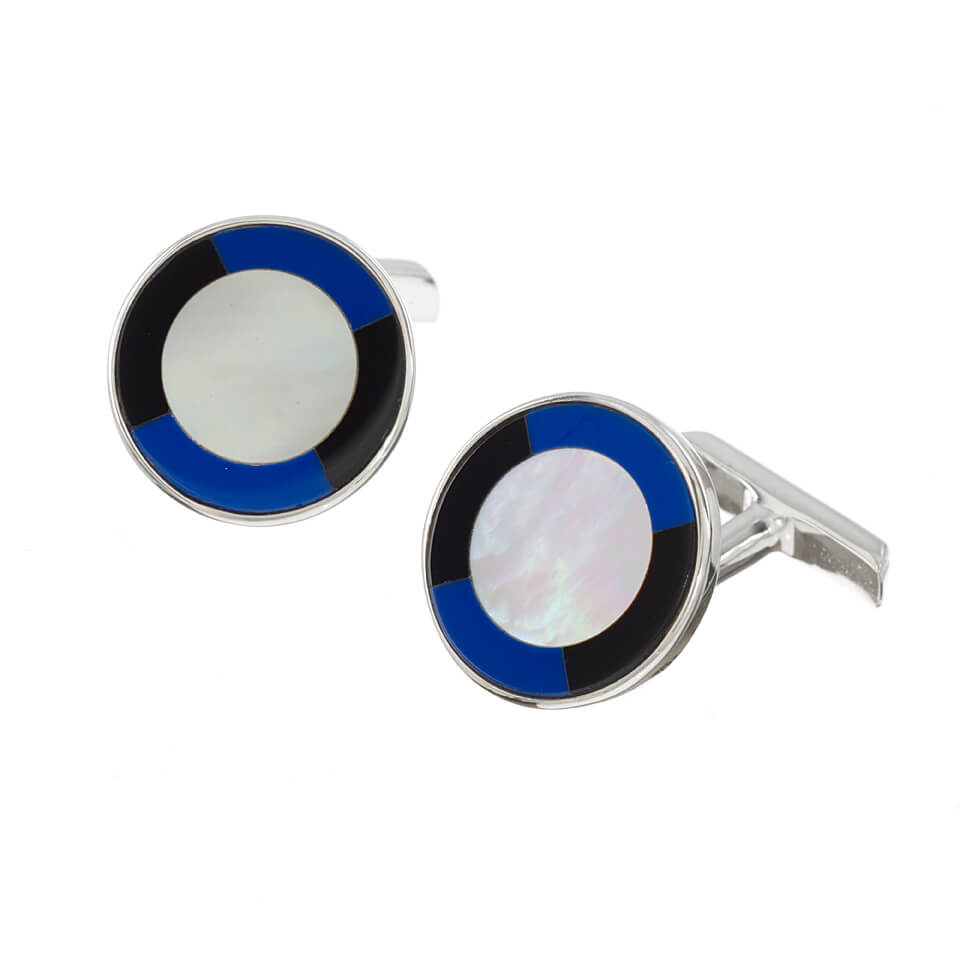 Sterling Silver Round Mother of Pearl Cufflinks with Onyx and Lapis Edge