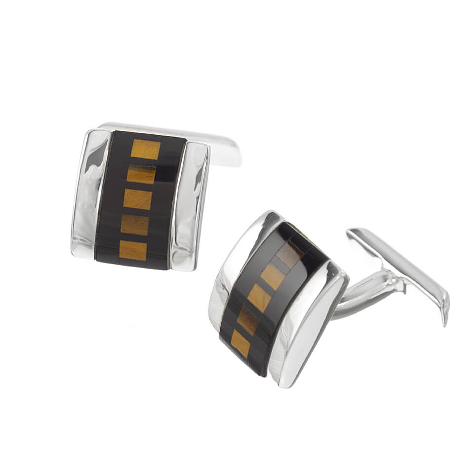 Sterling Silver Intricate Stone and Mother of Pearl Cufflinks
