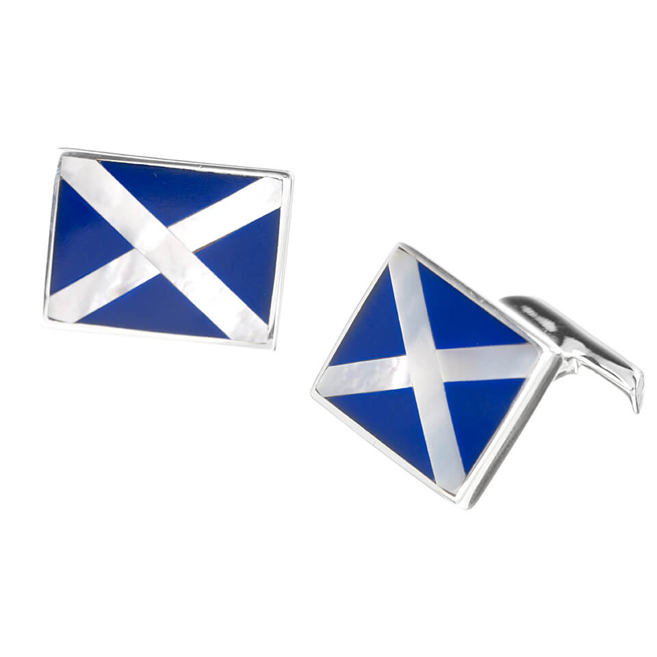 Sterling Silver St Andrews Cross Cufflinks