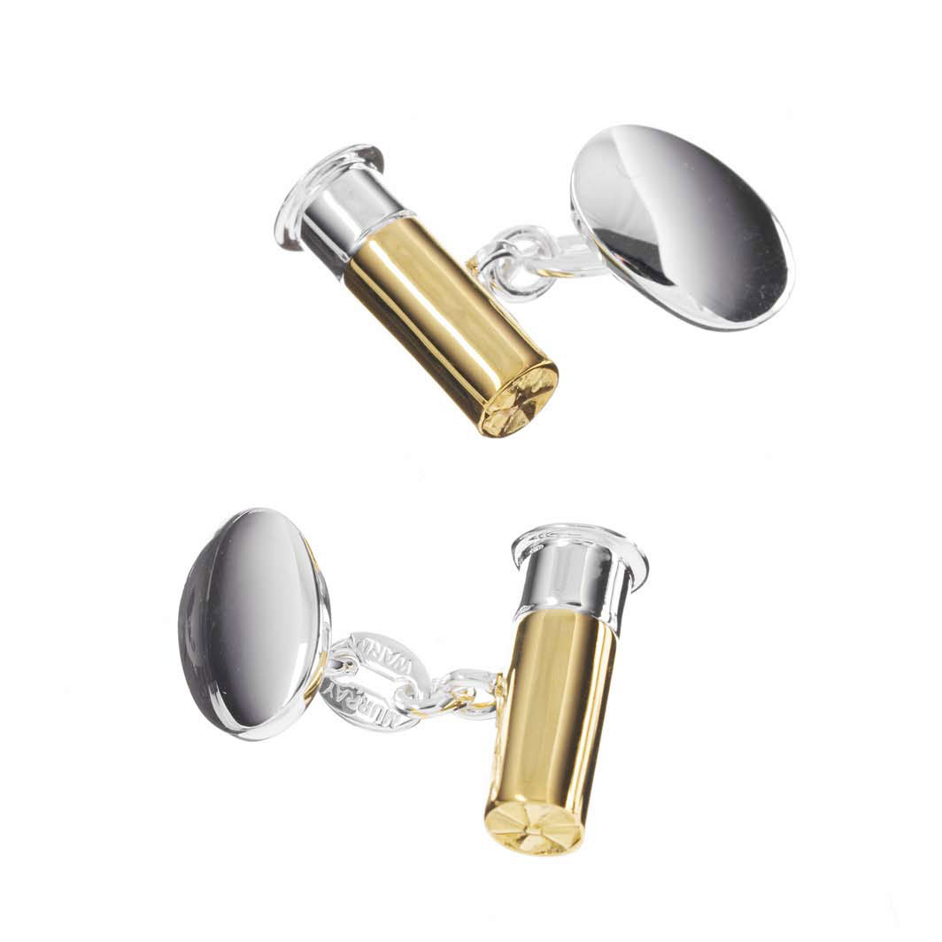 Gold on Sterling Silver Gun Cartridge Cufflinks