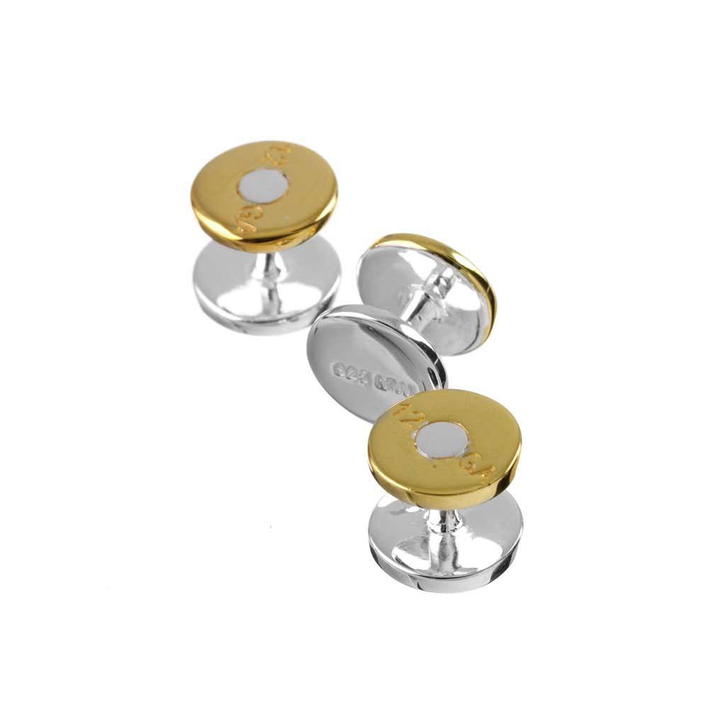 Gold on Sterling Silver Gun Cartridge Dress Studs