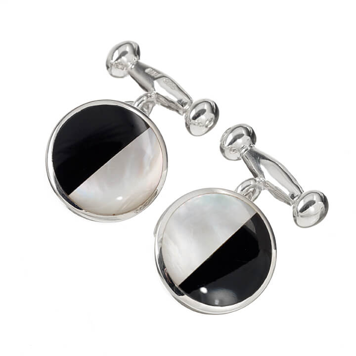 Sterling Silver Round 1/2 Onyx and Mother of Pearl Cufflinks