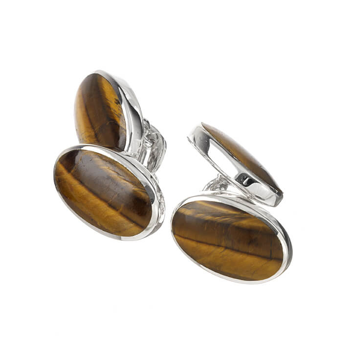 Sterling Silver Double Oval Tigers Eye Cufflinks