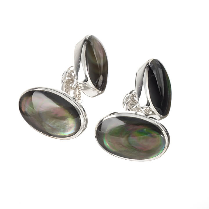 Sterling Silver Double Oval Black Mother of Pearl Cufflinks