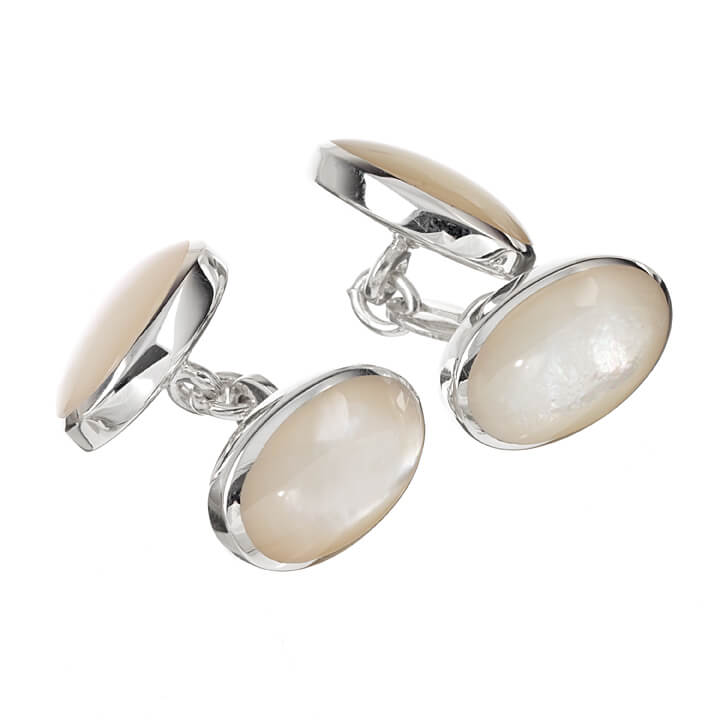 Sterling Silver Double Oval Mother of Pearl Cufflinks