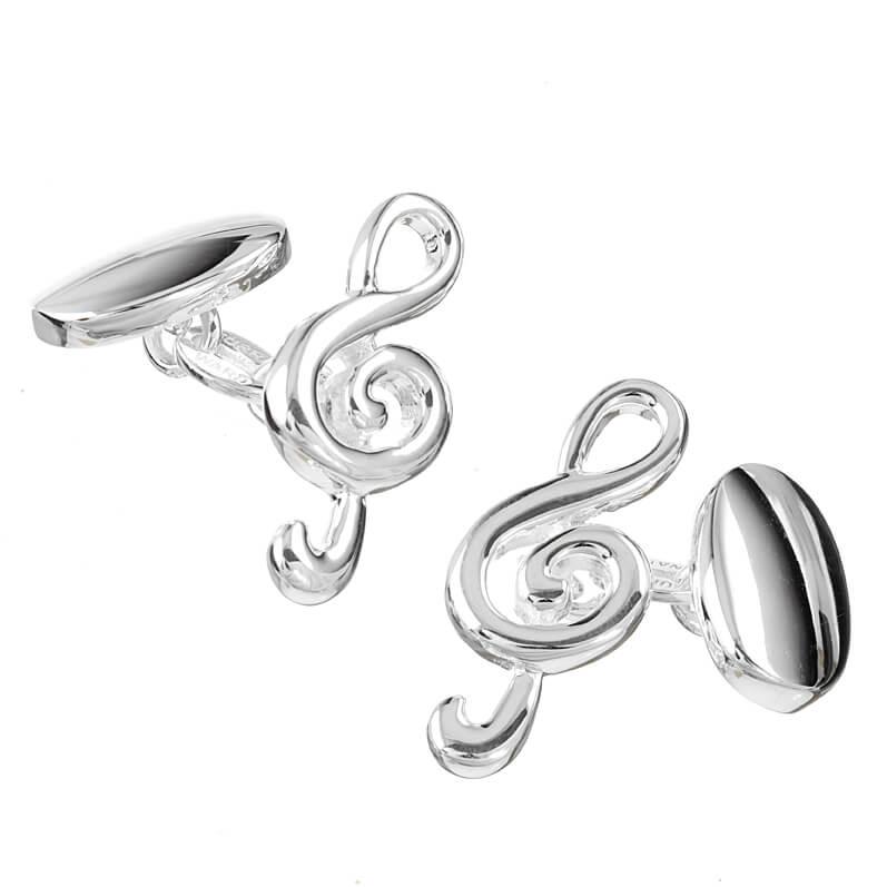 Sterling Silver Treble Clef Cufflinks