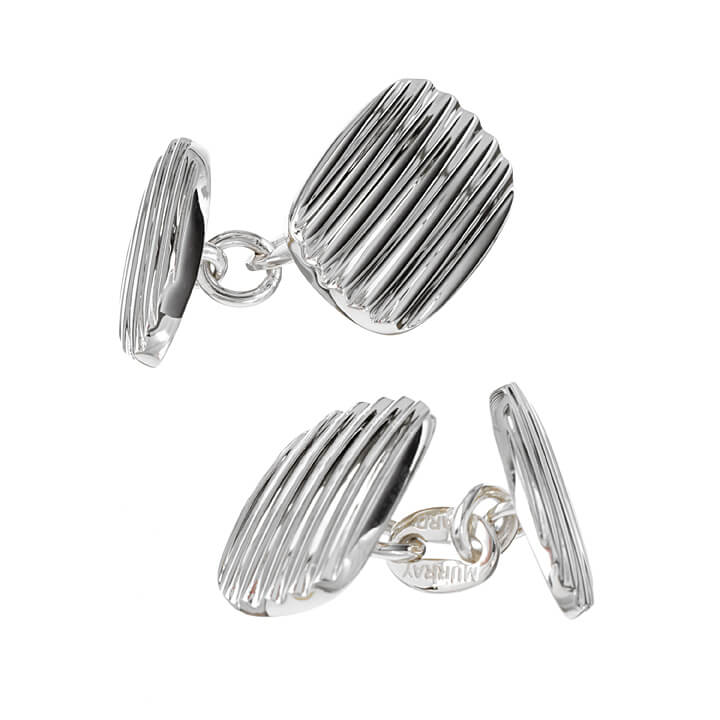 Sterling Silver Oblong and Oval  Grooved Cufflinks
