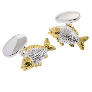 Carp Cufflinks in Gunmetal and Gilt