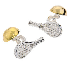 Tennis Racket and Ball Cufflinks in Gunmetal and Gilt