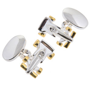 Racing Car Cufflinks in Gunmetal and Gilt