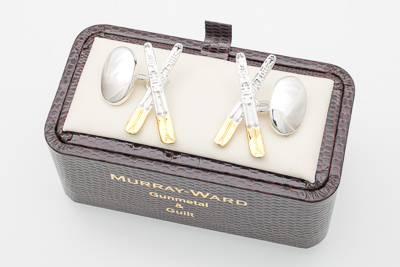 Crossed Skis Cufflinks in Gunmetal and Gilt