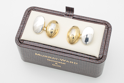 Rugby Ball Cufflinks in Gunmetal and Gilt