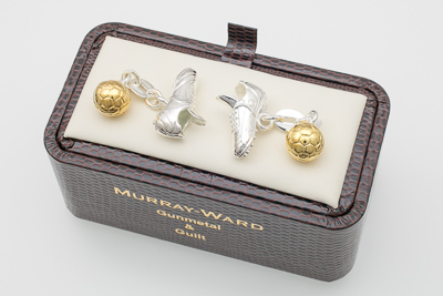 Football Boot and Ball Cufflinks in Gunmetal and Gilt