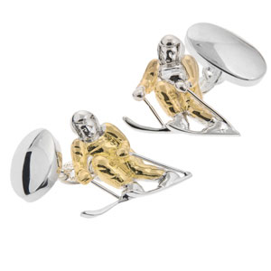 Skier Cufflinks in Gunmetal and Gilt