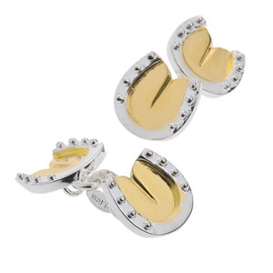 Horse Shoe Cufflinks in Gunmetal and Gilt
