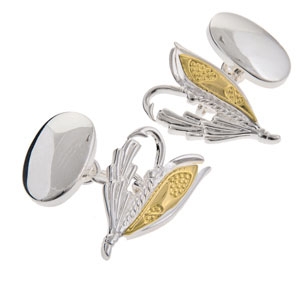 Fly Fishing Cufflinks in Gunmetal and Gilt