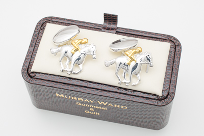 Race Horse and Jockey Cufflinks in Gunmetal and Gilt