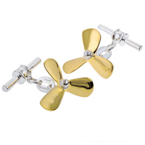Propeller Cufflinks in Gunmetal and Gilt