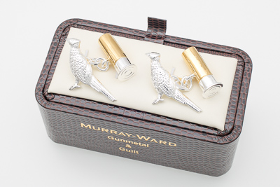 Pheasant and Gun Cartridge Cufflinks in Gunmetal and Gilt