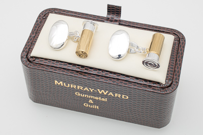 Gun Cartridge Cufflinks in Gunmetal and Gilt