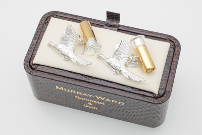 Flying Pheasant And Cartridge Cufflinks in Gunmetal and Gilt