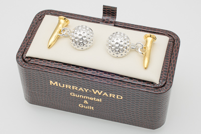 Golf Ball and Tee Cufflinks in Gunmetal and Gilt