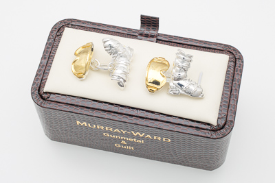 Ski Boot and Goggles Cufflinks in Gunmetal and Gilt