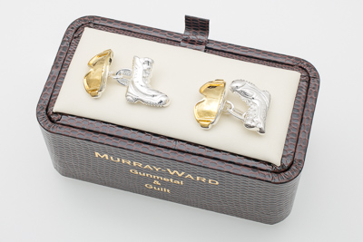 Snowboard Boot and Goggles Cufflinks in Gunmetal and Gilt