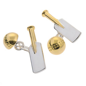 Cricket Bat and Ball Cufflinks in Gunmetal and Gilt