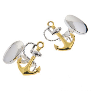 Anchor Cufflinks in Gunmetal and Gilt