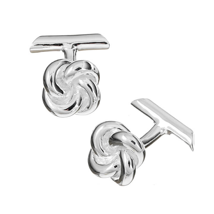 Sterling Silver Single Knot with Bar Cufflinks