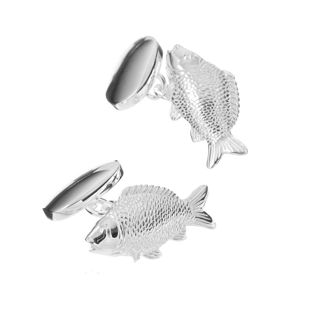 Sterling Silver Carp Cufflinks
