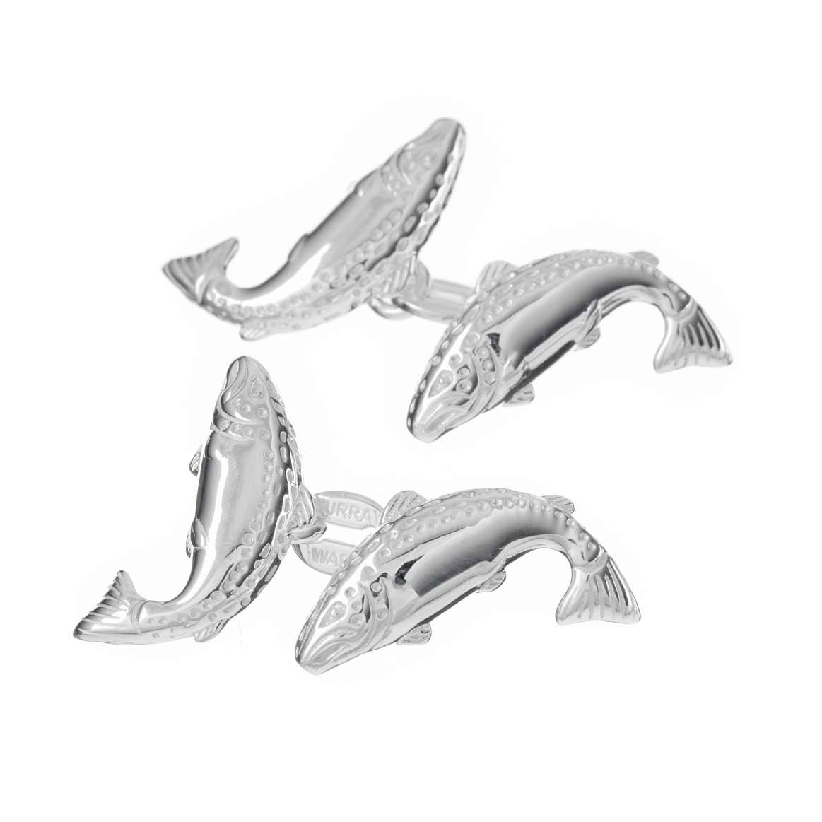Sterling Silver Double Salmon Cufflinks