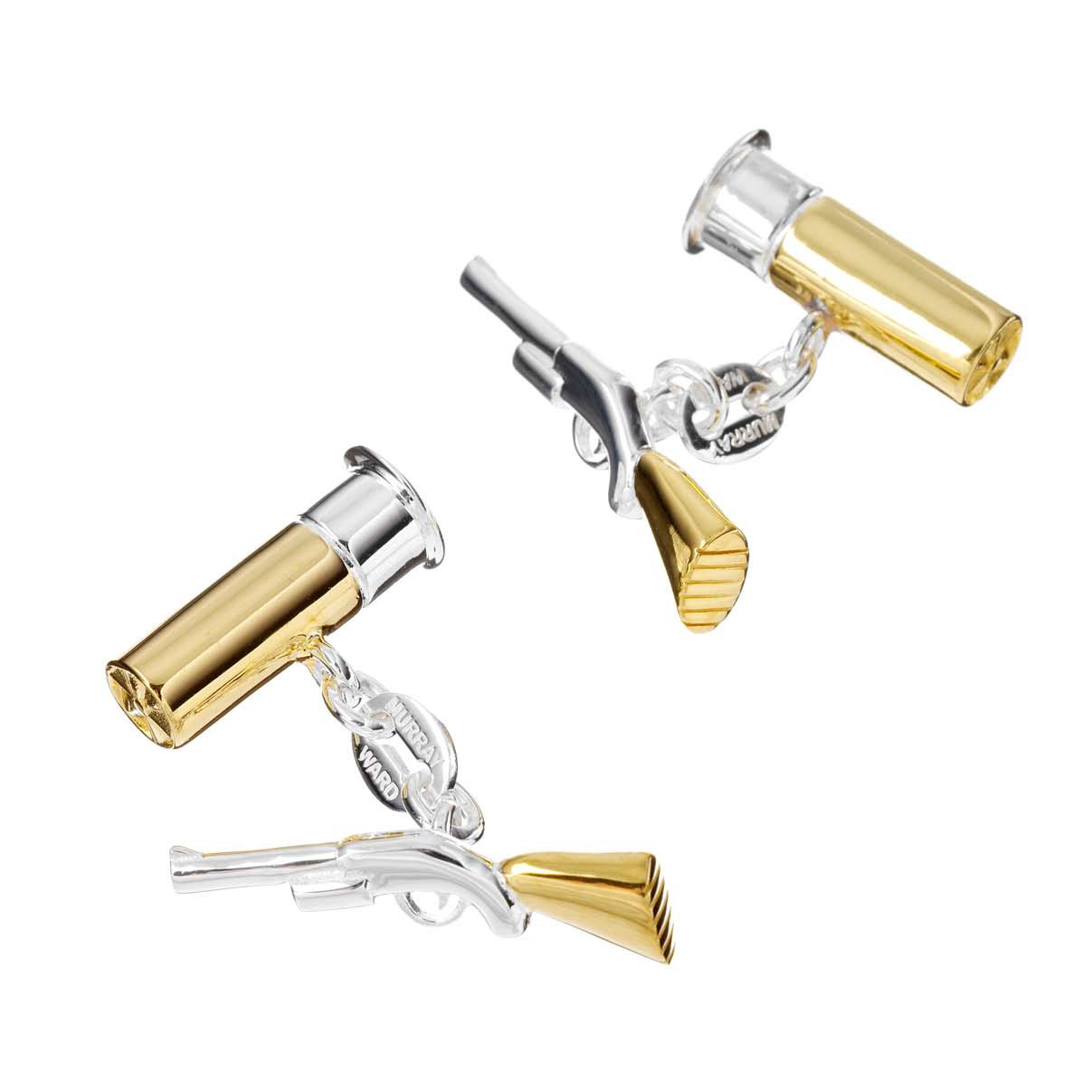Gold on Sterling Silver Shotgun and Gun Cartridge Cufflinks