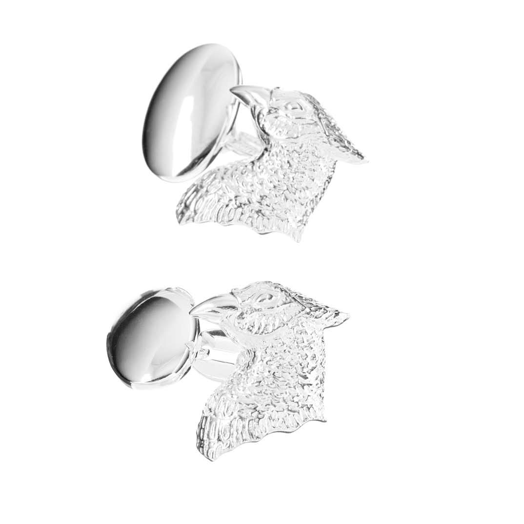 Sterling Silver Pheasants Head Cufflinks