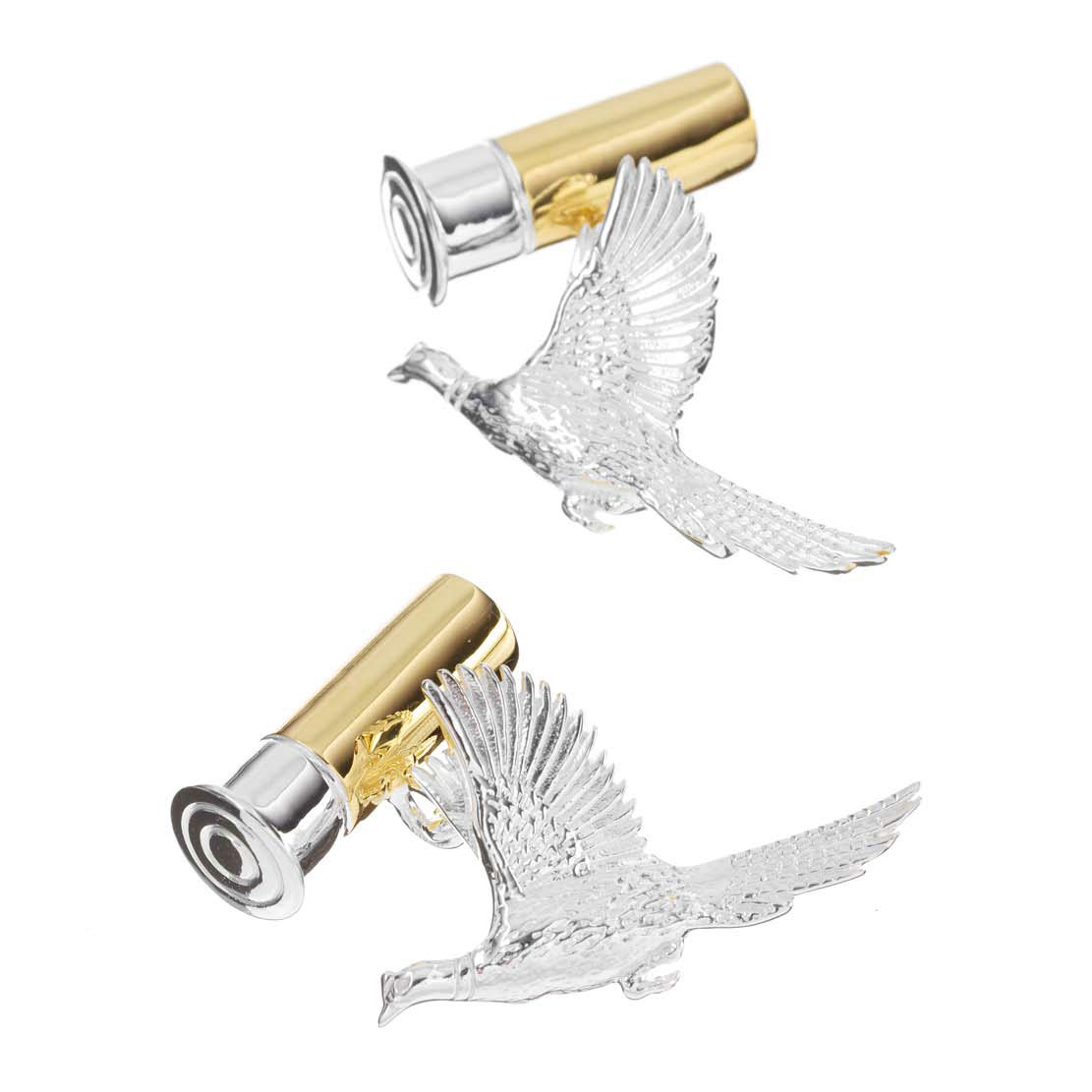 Gold on Sterling Silver Flying Pheasant And Cartridge Cufflinks