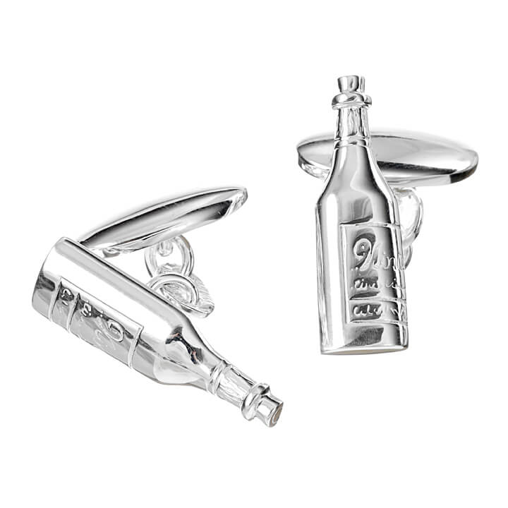 Sterling Silver Wine Bottle Cufflinks