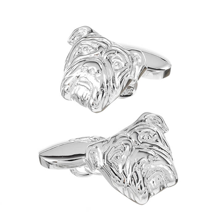 Sterling Silver British Bull Dog Cufflinks