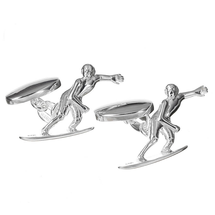 Sterling Silver Surfer Cufflinks