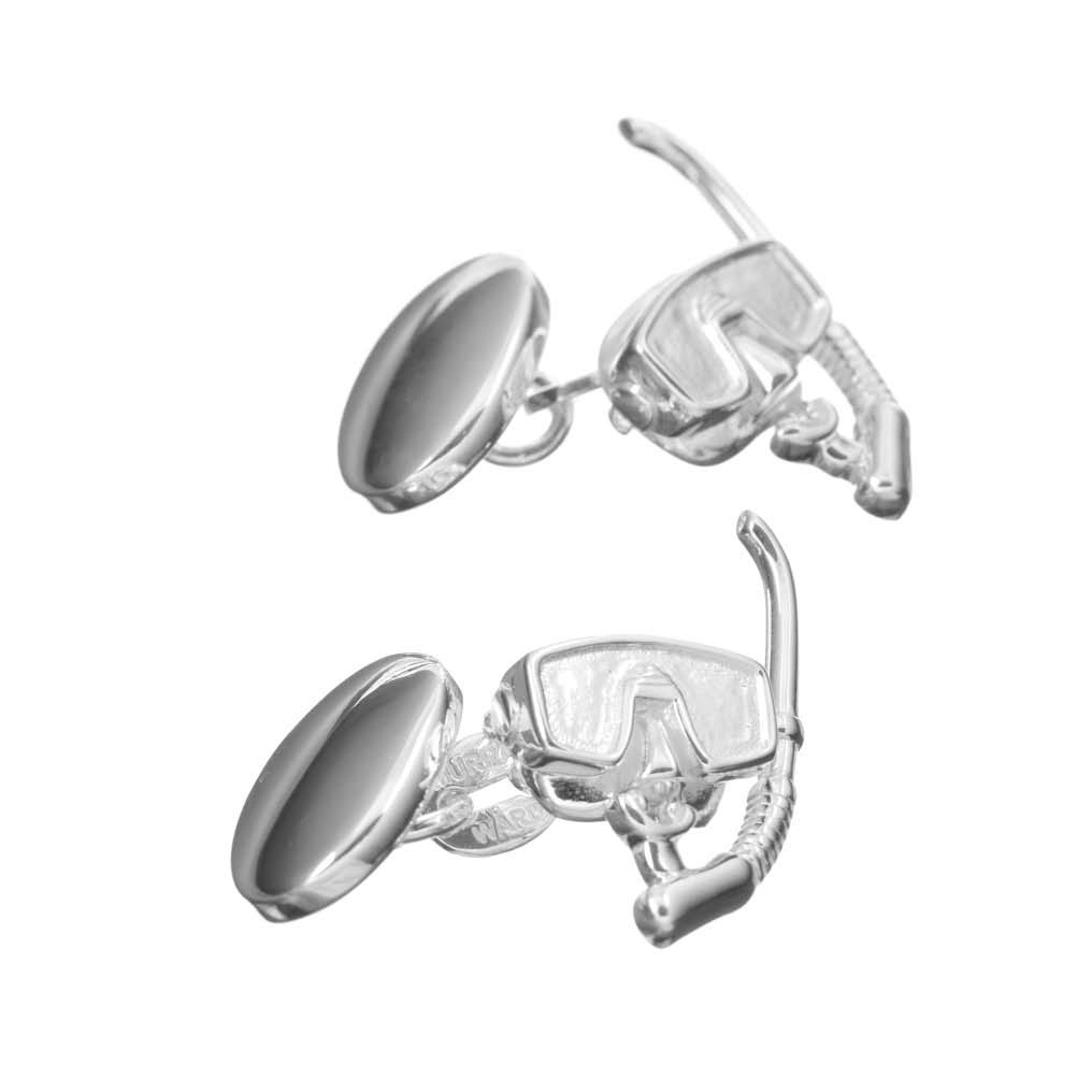 Sterling Silver Snorkel and Mask Cufflinks