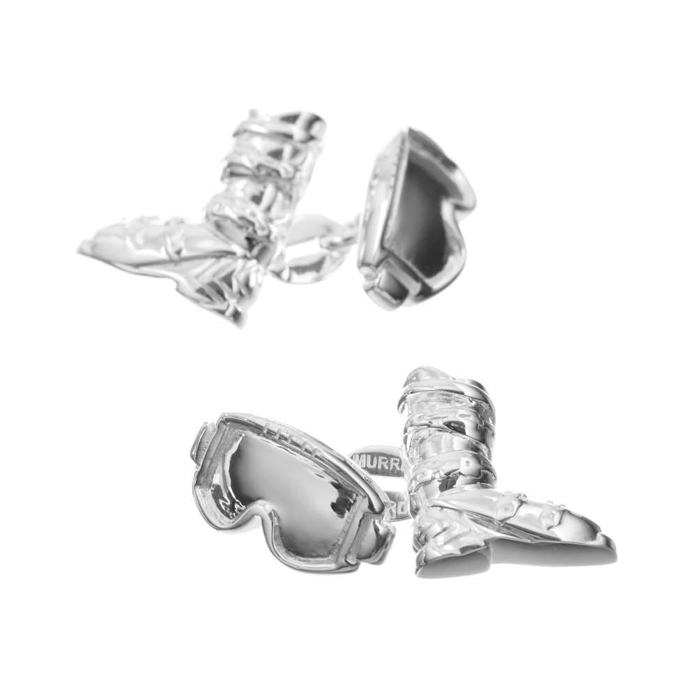 Sterling Silver Ski Boot and Goggles Cufflinks